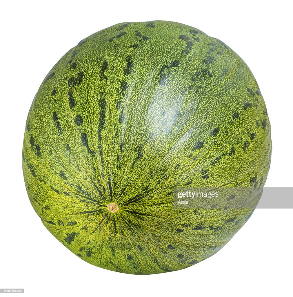 Green melon isolated on white background with clipping path : Stock Photo