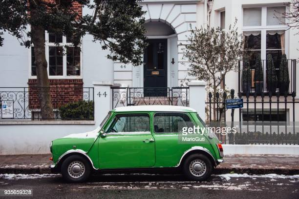 green mini car - mini cooper stock pictures, royalty-free photos & images
