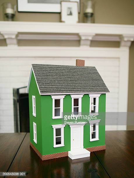 Green model home on table