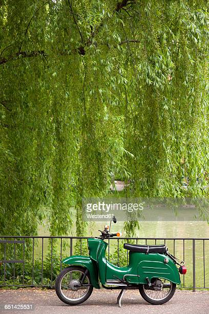 green moped - moped stock photos and pictures