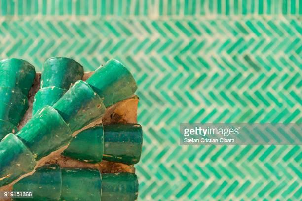 Green Morocco tiles in Marrakesh