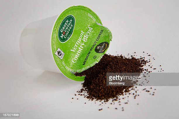 A Green Mountain Coffee Roasters Inc singleserve coffee capsule is arranged for a photograph in New York US on Tuesday Nov 27 2012 Green Mountain...