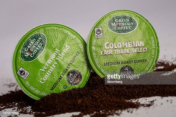 Green Mountain Coffee Roasters Inc singleserve coffee capsules are arranged for a photograph in New York US on Tuesday Nov 27 2012 Green Mountain...