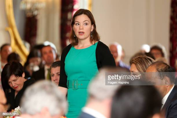 Green MP Julie Anne Genter takes an oath during a swearingin ceremony at Government House on October 26 2017 in Wellington New Zealand After failing...