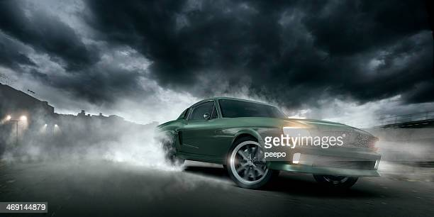 green muscle car burnout - hot rod car stock photos and pictures