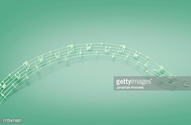 green music notes - note de musique photos et images de collection