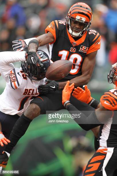 J Green of the Cincinnati Bengals breaks up a pass intended for Kendall Wright of the Chicago Bears during the first half at Paul Brown Stadium on...