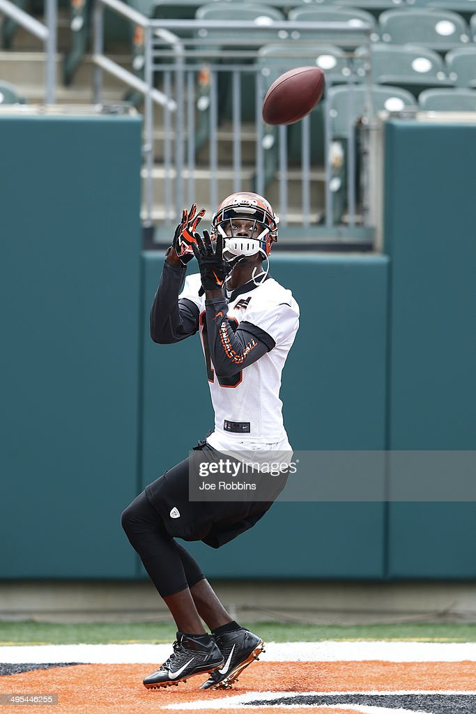 A.J. Green #18 of the Cincinnati Bengals catches a ball during an organized team activity (OTA) workout at Paul Brown Stadium on June 3, 2014 in Cincinnati, Ohio.