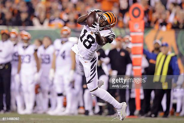 J Green of the Cincinnati Bengals catches a pass during the second quarter of the game against the Miami Dolphins at Paul Brown Stadium on September...