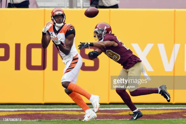 Green of the Cincinnati Bengals catches a pass from Joe Burrow for a second quarter touchdown against the Washington Football Team at FedExField on...