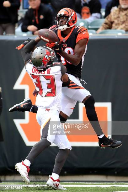 J Green of the Cincinnati Bengals catches a touchdown pass over the defense of Carlton Davis of the Tampa Bay Buccaneers during the second quarter at...