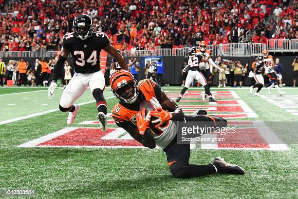 J Green of the Cincinnati Bengals catches the game winning touchdown pass during the fourth quarter against the Cincinnati Bengals at MercedesBenz...