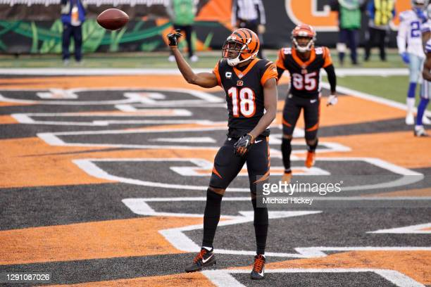 Green of the Cincinnati Bengals celebrates after scoring a touchdown in the second quarter against the Dallas Cowboys at Paul Brown Stadium on...