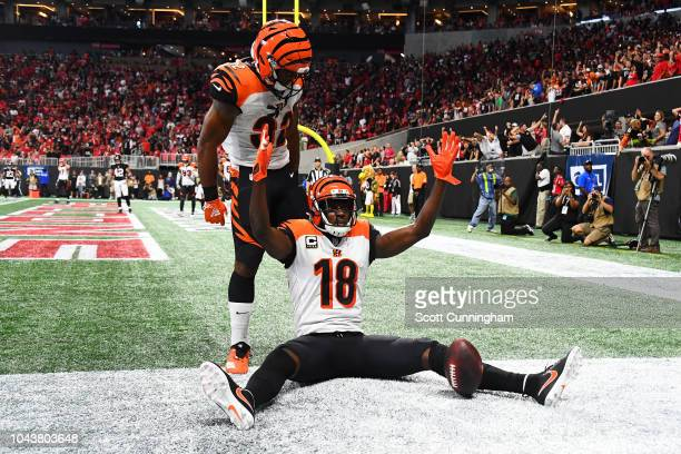 J Green of the Cincinnati Bengals celebrates the game winning touchdown during the fourth quarter against the Cincinnati Bengals at MercedesBenz...