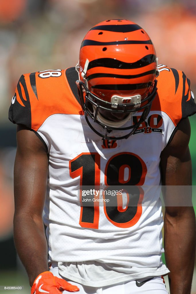 A.J. Green #18 of the Cincinnati Bengals hangs his head after an unsuccessful fourth down attempt during the fourth quarter of the game against the Baltimore Ravens at Paul Brown Stadium on September 10, 2017 in Cincinnati, Ohio. Baltimore defeated Cincinnati 20-0.