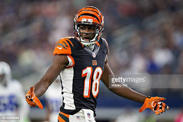 J Green of the Cincinnati Bengals looks for a flag to be thrown during a game against the Dallas Cowboys at ATT Stadium on October 9 2016 in...