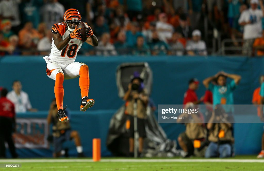A.J. Green #18 of the Cincinnati Bengals makes a catch during a game against the Miami Dolphins at Sun Life Stadium on October 31, 2013 in Miami Gardens, Florida.
