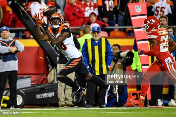 J Green of the Cincinnati Bengals makes a catch during the first half of the game against the Kansas City Chiefs at Arrowhead Stadium on October 21...