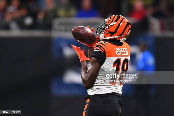 Green of the Cincinnati Bengals makes a catch during the first quarter against the Atlanta Falcons at Mercedes-Benz Stadium on September 30, 2018 in...
