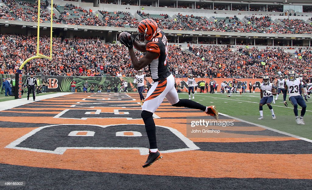 A.J. Green #18 of the Cincinnati Bengals makes a touchdown catch during the first quarter against the St. Louis Rams at Paul Brown Stadium on November 29, 2015 in Cincinnati, Ohio.