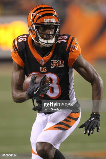 J Green of the Cincinnati Bengals runs with the ball after a reception against the Pittsburgh Steelers during the first half at Paul Brown Stadium on...
