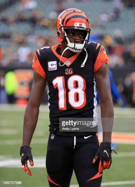 Green of the Cincinnati Bengals warms up pror to the start of the game against the Pittsburgh Steelers at Paul Brown Stadium on October 14, 2018 in...