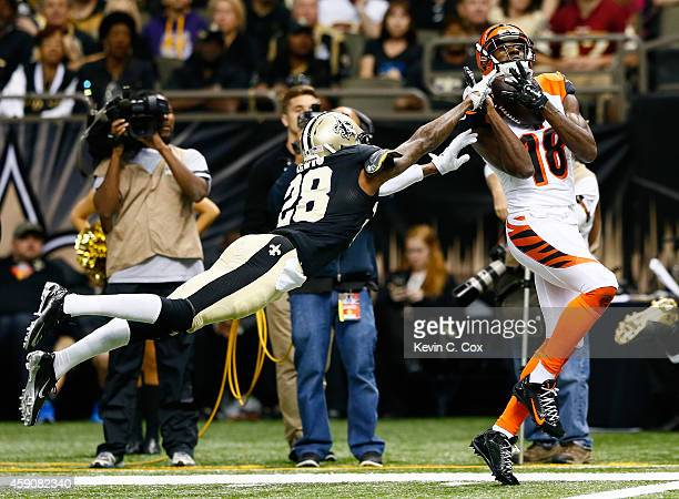 J Green of the Cincinnati Bengals with a touchdown reception against Keenan Lewis of the New Orleans Saints during the second half at MercedesBenz...
