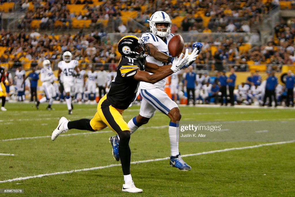 T.J. Green #32 of the Indianapolis Colts breaks up a pass to Justin Hunter #11 of the Pittsburgh Steelers during a preseason game on August 26, 2017 at Heinz Field in Pittsburgh, Pennsylvania.