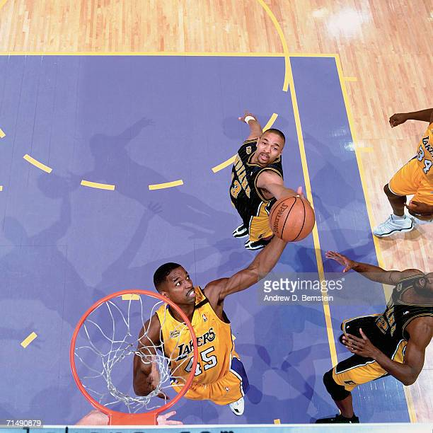 C Green of the Los Angeles Lakers battles for a rebound against Mark Jackson of the Indiana Pacers during Game Six of the 2000 NBA Finals on June 19...