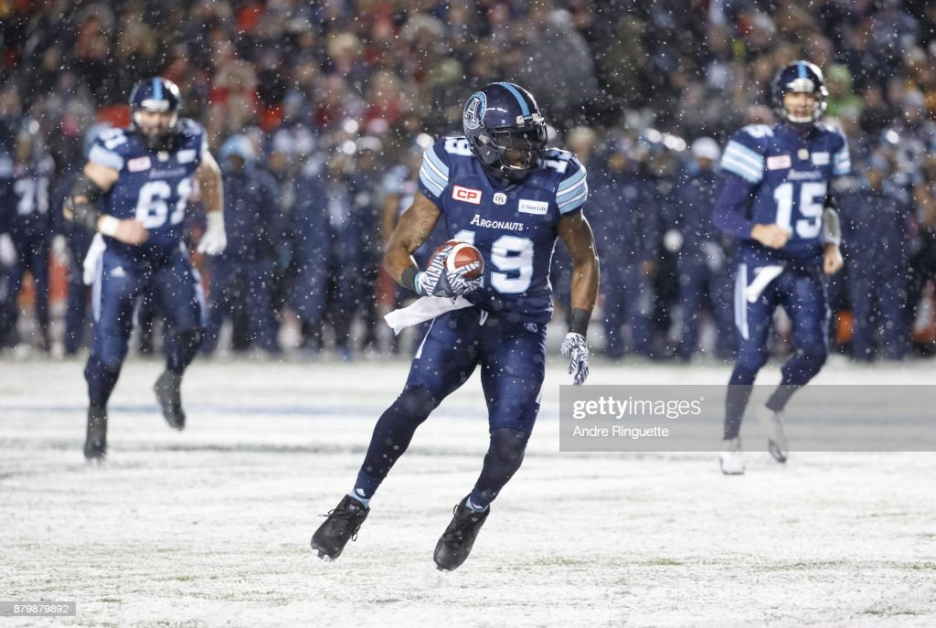 S.J. Green #19 of the Toronto Argonauts runs with the ball after a catch against the Calgary Stampeders during the second half of the 105th Grey Cup Championship Game at TD Place Stadium on November 26, 2017 in Ottawa, Canada.