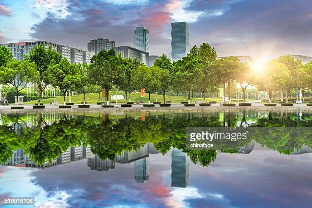 green office block of shanghai - lush stock pictures, royalty-free photos & images