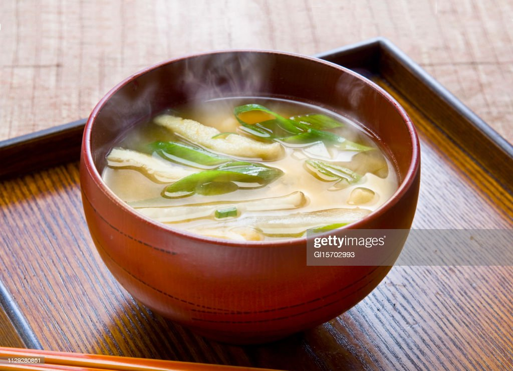 Green onion and fried miso soup : Stock Photo