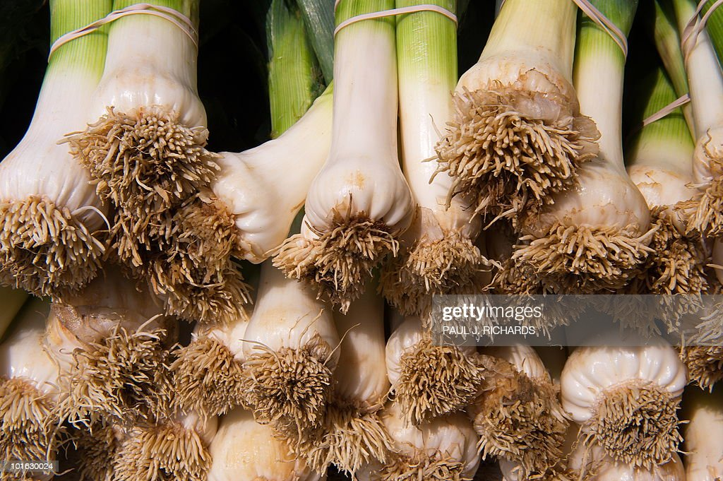 Green onions are seen for sale at a 'farmers market' June 3, 2010, in downtown Washington, DC. AFP Photo/Paul J. Richards