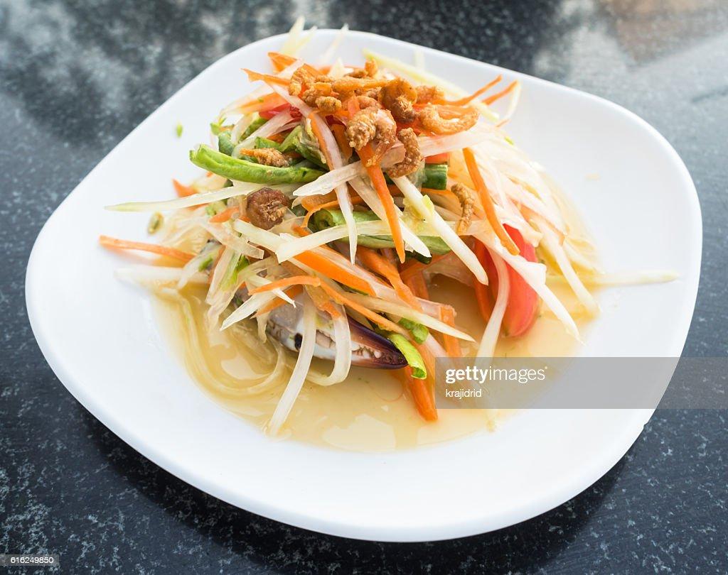 Green Papaya Salad (Som tum Thai) : Stock Photo