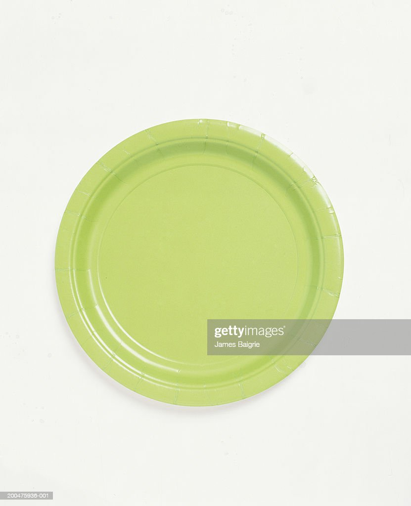 Green paper plate, overhead view : Stock Photo