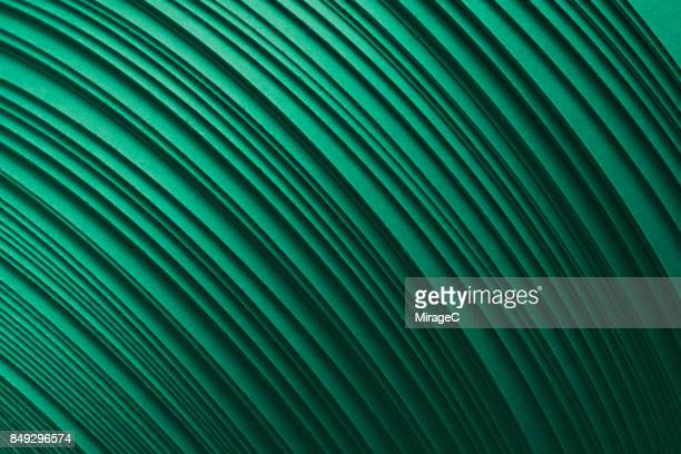 Green Paper Stripes Stacking in Curve Shape