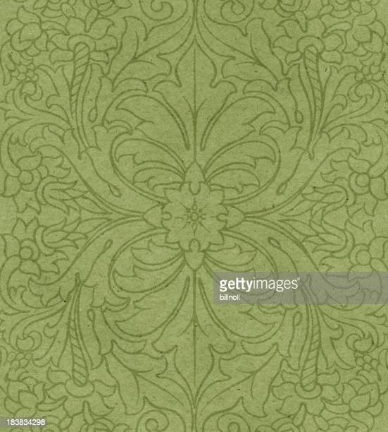 green paper with floral pattern