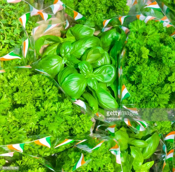 Green parsley in shop for vegetarian meal.