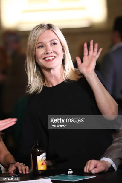 Green Party candidate Hayley Holt gives a wave at the Green Party election night function at St Matthews in the City Church on September 23 2017 in...
