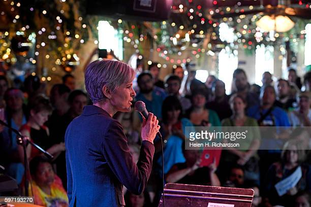 Green party candidate Jill Stein speaks to a standing room only crowd at the Mercury Cafe on August 28 2016 in Denver Colorado