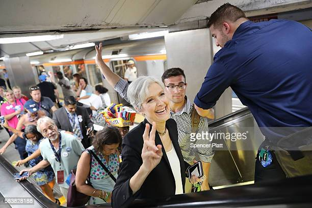 Green Party candidate Jill Stein speaks with supporters in downtown Philadelphia during events at the Democratic National Convention on July 26 2016...