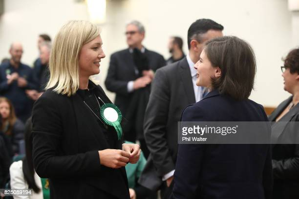 Green Party candidates Hayley Holt and Chloe Swarbrick attend the Green Party Auckland Election Campaign Launch on August 1 2017 in Auckland New...