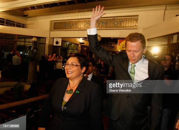 Green Party Co Leaders Metiria Turei and Russel Norman arrive at the Alleluia Cafe where they are greeted by about 400 of the party faithful as New...