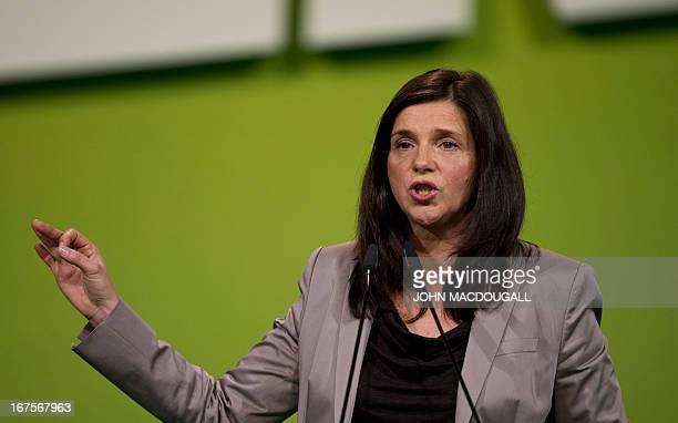 Green Party cocandidate in parliamentary elections Katrin GoeringEckhardt addresses a Green Party congress in Berlin April 26 2013 AFP PHOTO / JOHN...