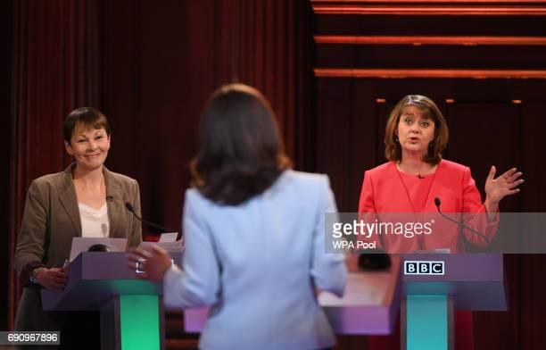 Green Party coleader Caroline Lucas and Plaid Cymru leader Leanne Wood take part in the BBC Election Debate hosted by BBC news presenter Mishal...