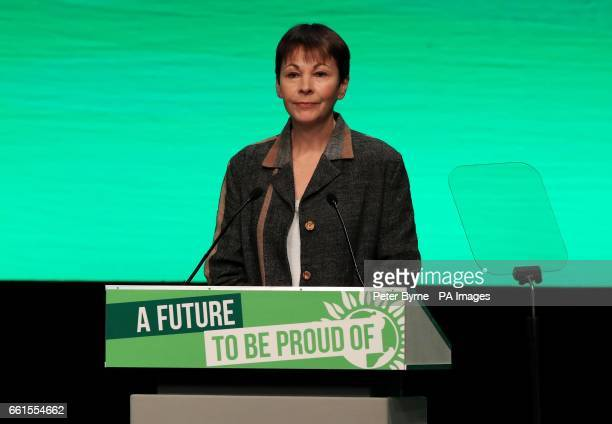 Green Party coleader Caroline Lucas speak at the Green Party Spring Conference at the ACC in Liverpool