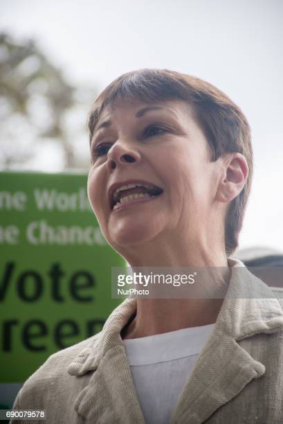 Green Party coleader Caroline Lucas speaks next to a green question mark at Parliament Square London on May 30 during a general election campaign...