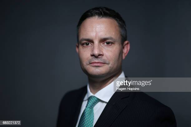 Green Party coleader James Shaw poses for a portrait at Parliament on May 15 2017 in Wellington New Zealand