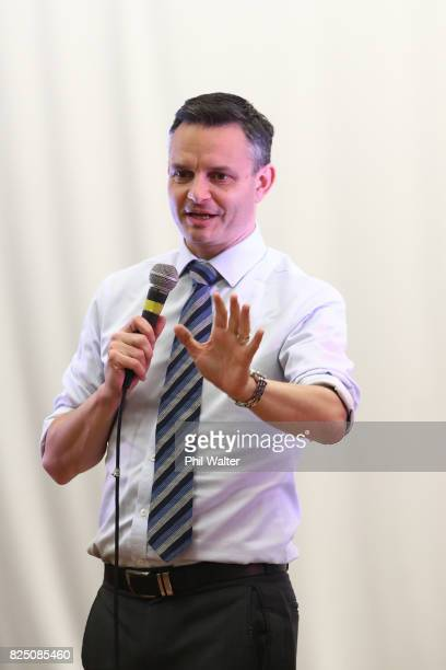 Green Party coleader James Shaw speaks during the Green Party Auckland Election Campaign Launch on August 1 2017 in Auckland New Zealand The 2017 New...