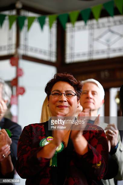 Green Party coleader Metiria Turei applauds during their election campaign event at St Kevins Arcade in Auckland on September 18 2014 in Auckland New...